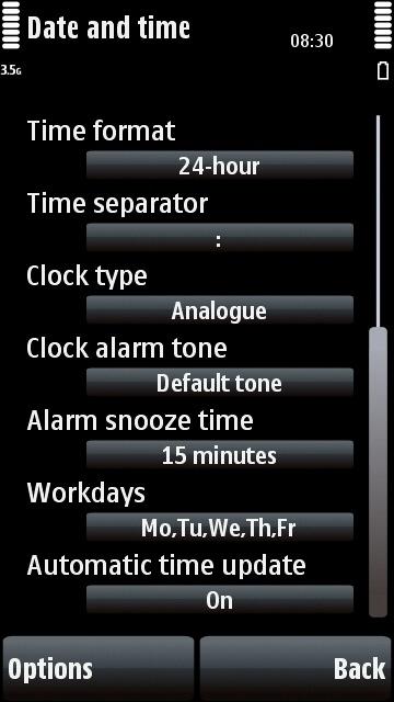 Nokia 5800 clock settings
