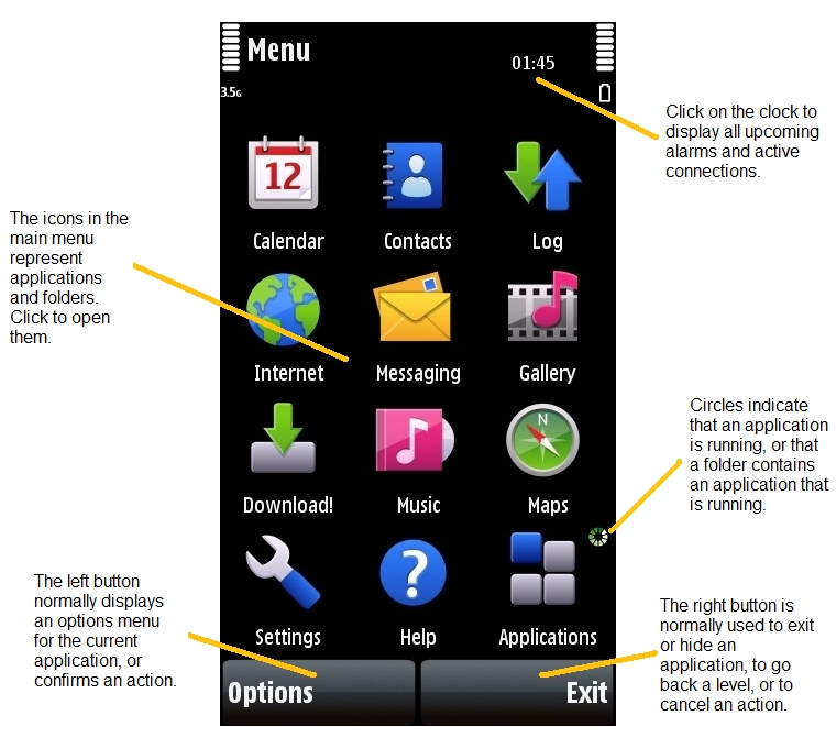 Nokia 5800 main menu