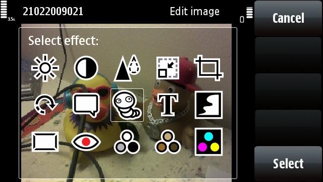 Nokia 5800 photo editing page