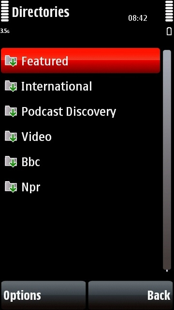 Nokia 5800 Podcasting application directories