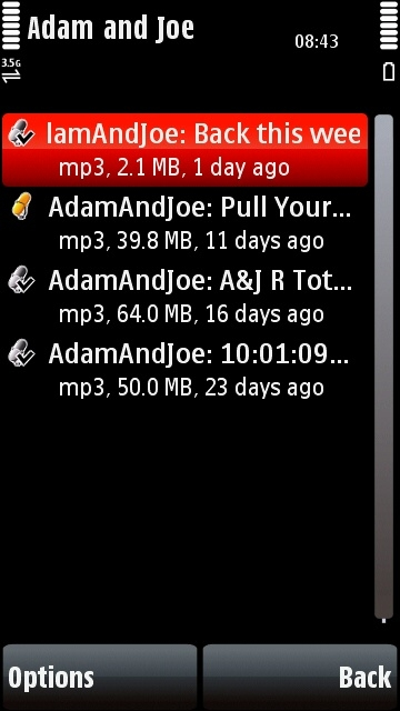 Nokia 5800 Podcasting application episodes