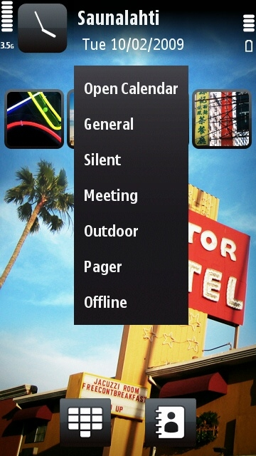 Nokia 5800 profiles menu