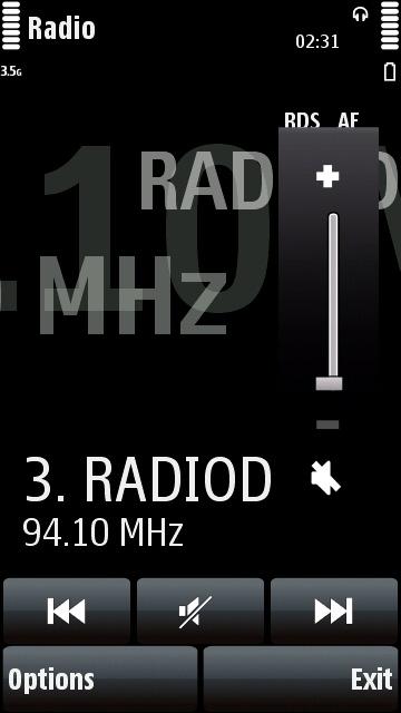Nokia 5800 FM radio volume control
