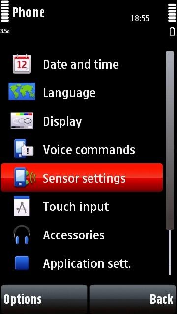 Nokia 5800 phone settings page