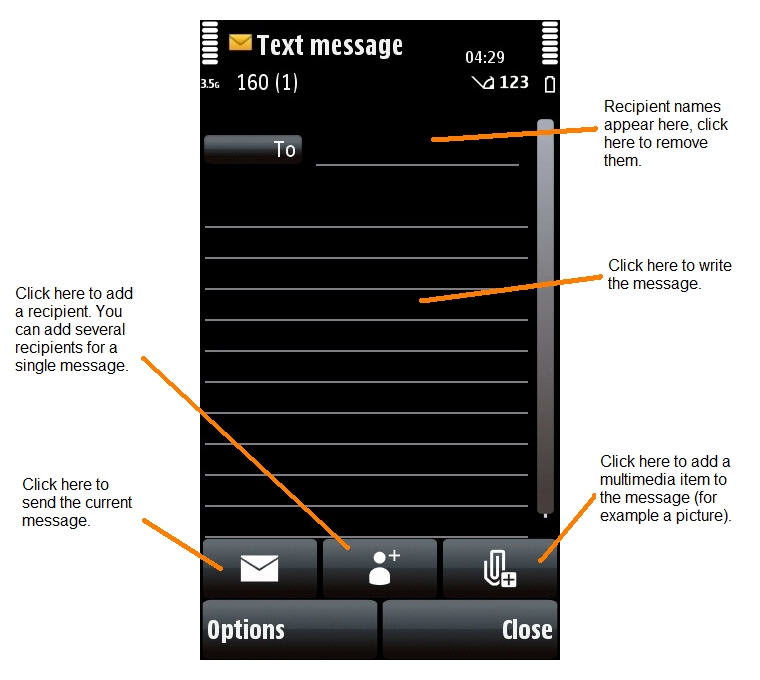Text Message application on the Nokia 5800 XpressMusic