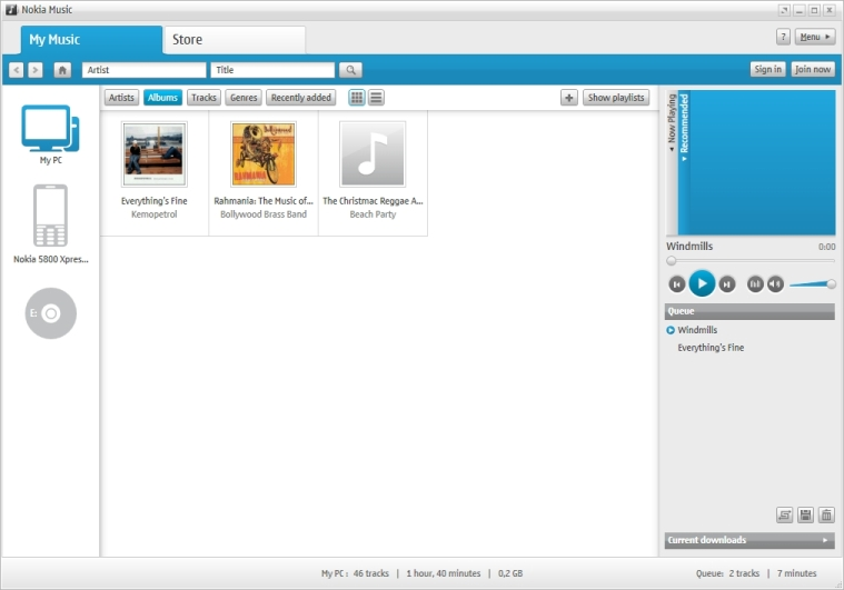 Nokia Music application with albums added and 5800 connected