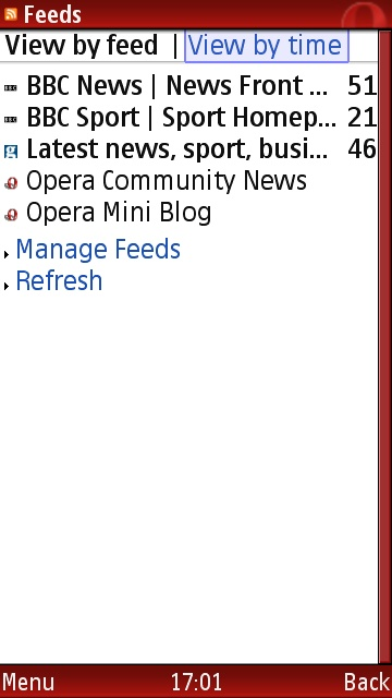 Opera Mini feeds page