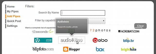 Selecting the Audioboo pipe on Pixelpipe