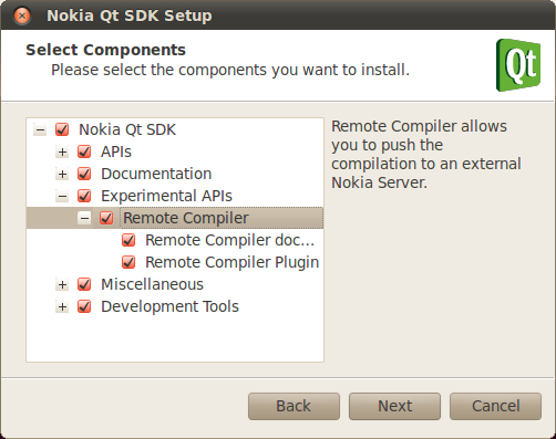 Nokia Qt SDk Setup showing options to install Remote Compiler