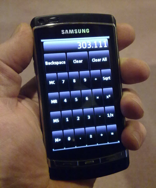 Qt Calculatro example on a Samsung i8910