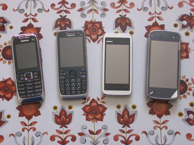 Left to right: Nokia E51, Nokia E55, Nokia 5530, Nokia N97
