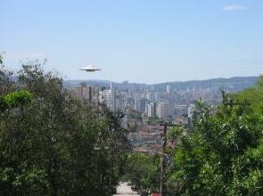 UFO flying over city