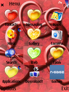 Valentine menu screen