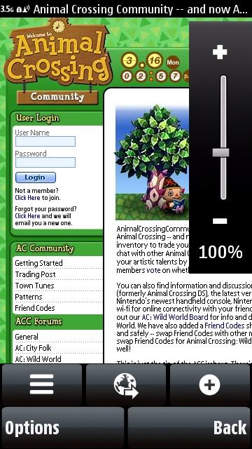 Nokia 5800 web browser zoom control
