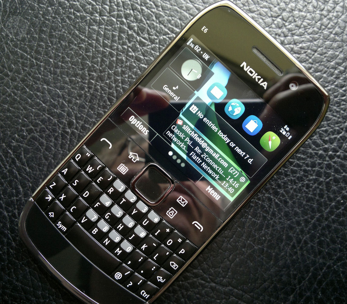 Nokia E6 - the control button panel is shiny and somewhat prone to ...