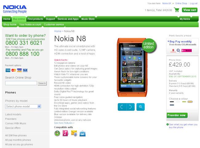 N8 pre-order page