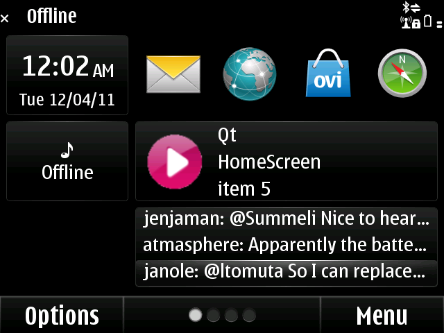 Existing screen widgets using the N97's API will still work, despite scrolling effects. See the Gravity widget working here