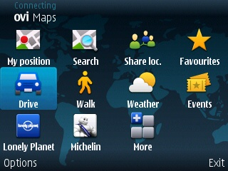 Ovi Maps home screen
