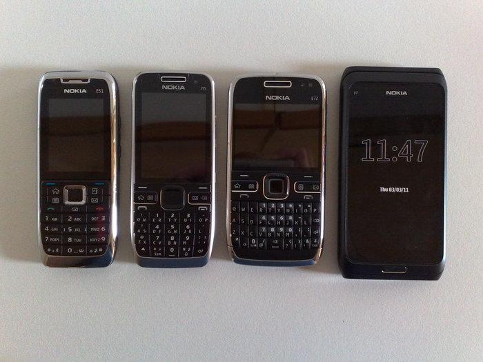 Generations of the Nokia Eseries family. Left to right: E51, E55, E72, E7-00