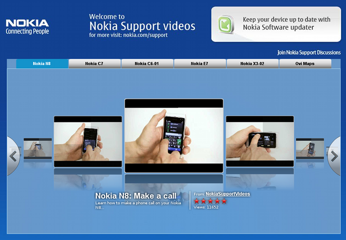The feature video selector at Nokia's support channel on YouTube