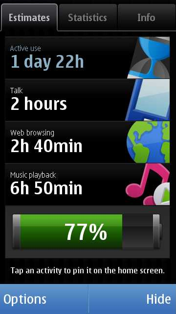 Nokia Battery Monitor - Nokia N97 and 5800 Express Music Application