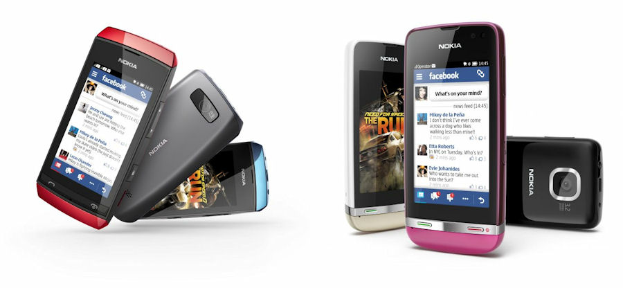 Nokia Asha Touch 305 (left), 311 (left)
