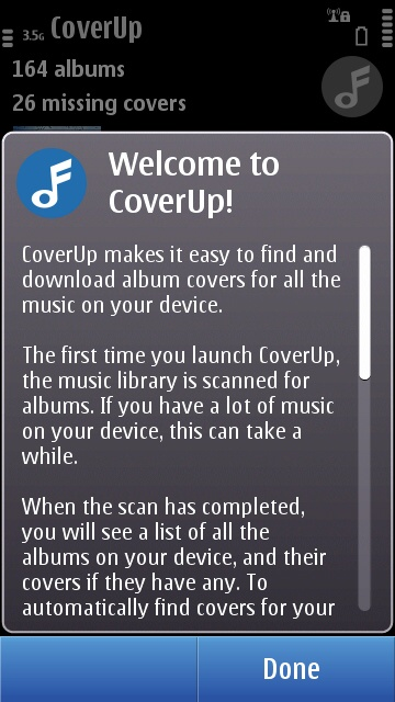Cover Up's new welcome page