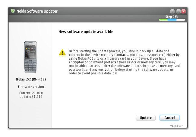 Nokia E52 firmware update