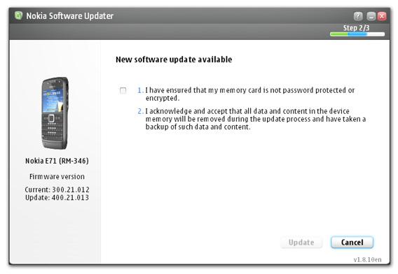 Nokia E71 firmware update