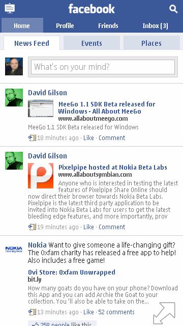 Facebook Touch as WRT Widget