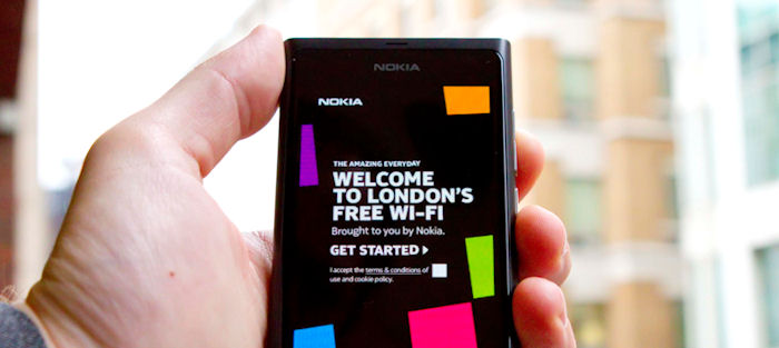 Nokia London WiFi login page