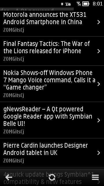 Screenshot, gNewsReader