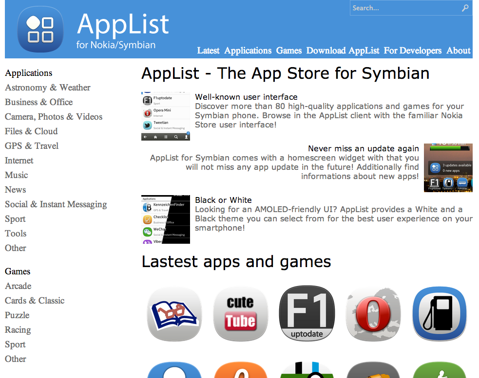Main AppList web UI