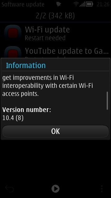 update1 Wi fi e YouTube updates per Symbian Belle FP1/FP2
