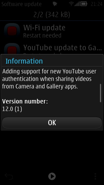 update2 Wi fi e YouTube updates per Symbian Belle FP1/FP2