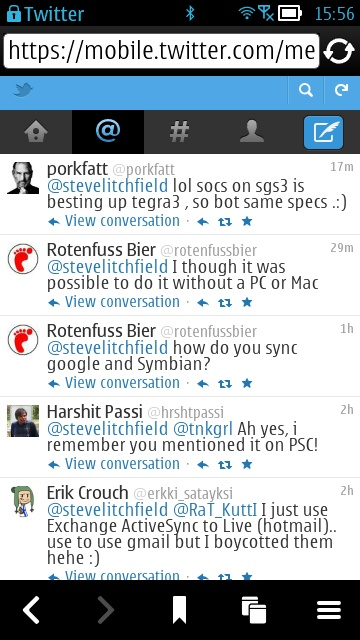 Screenshot, new mobile Twitter interface