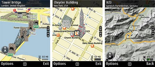 Nokia Maps 3.0 screens
