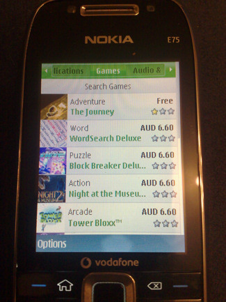 Ovi Store screenshot on the Nokia E75