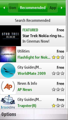 Ovi Store running on the Nokia 5800