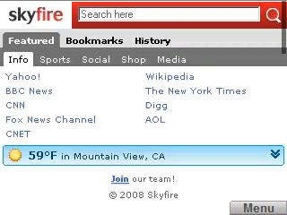 Skyfire screenshot