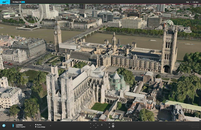 Ovi Maps web version turns on 3D and street views