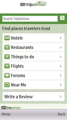 Trip Advisor in Ovi Maps