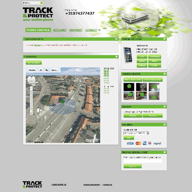The Track&Trace Web interface