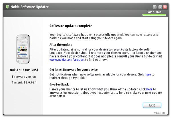 N97 firmware update