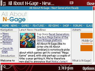 All About N-Gage website viewed through 5320 browser - horizontal mode