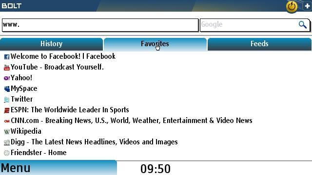 Bolt's start page