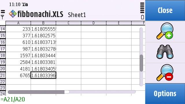 Quickoffice spread sheet viewer