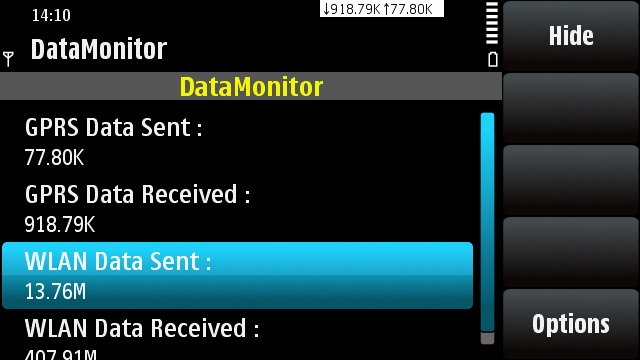 DataMonitor running on Symbian^1