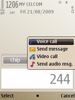 E52 Smart dial on home screen