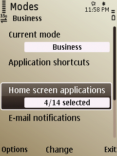 E52 Homescreen plugin setting